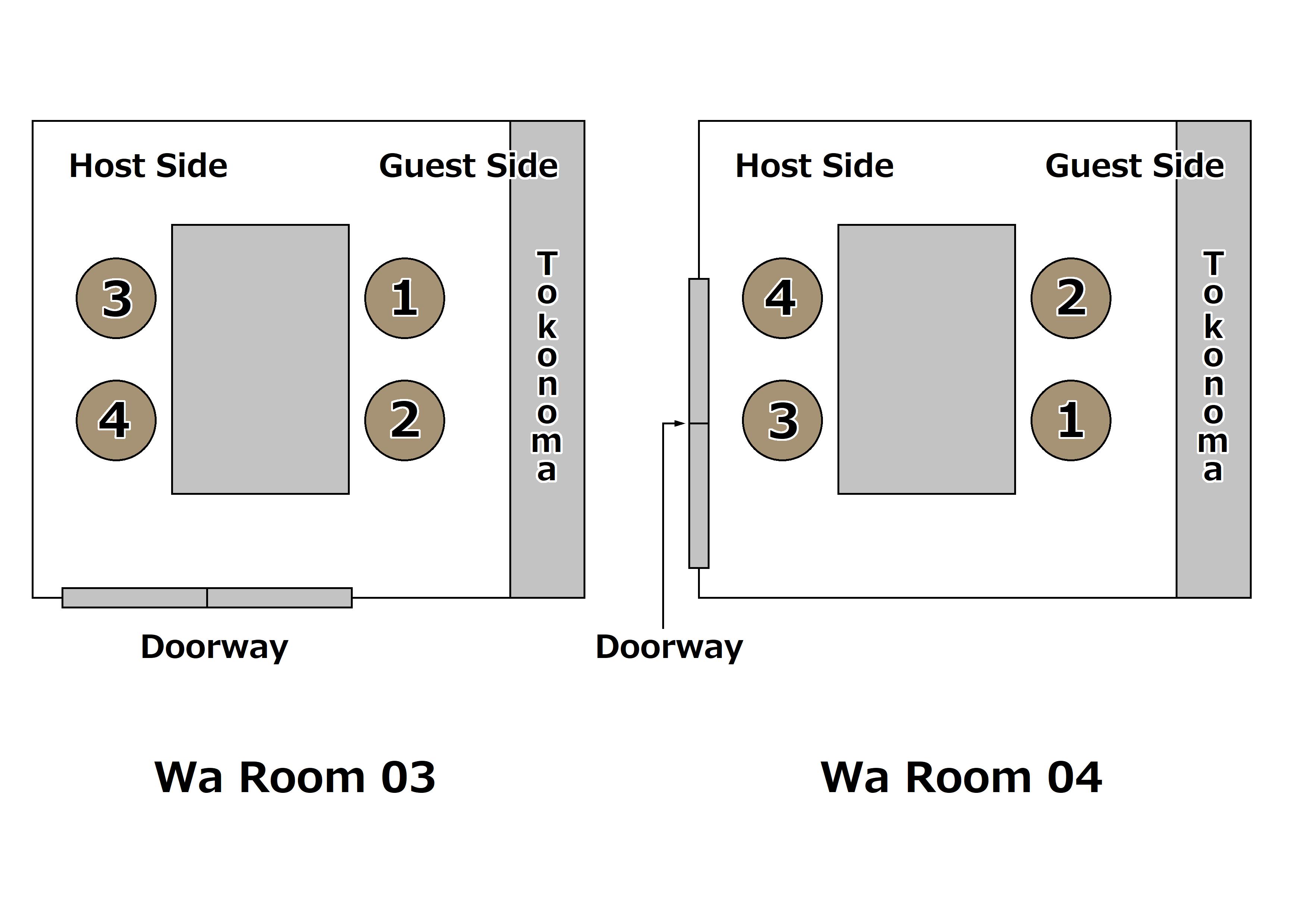 in The Wa Room with Tokonoma㈪(和室(床の間アリ)の上座/下座㈪)