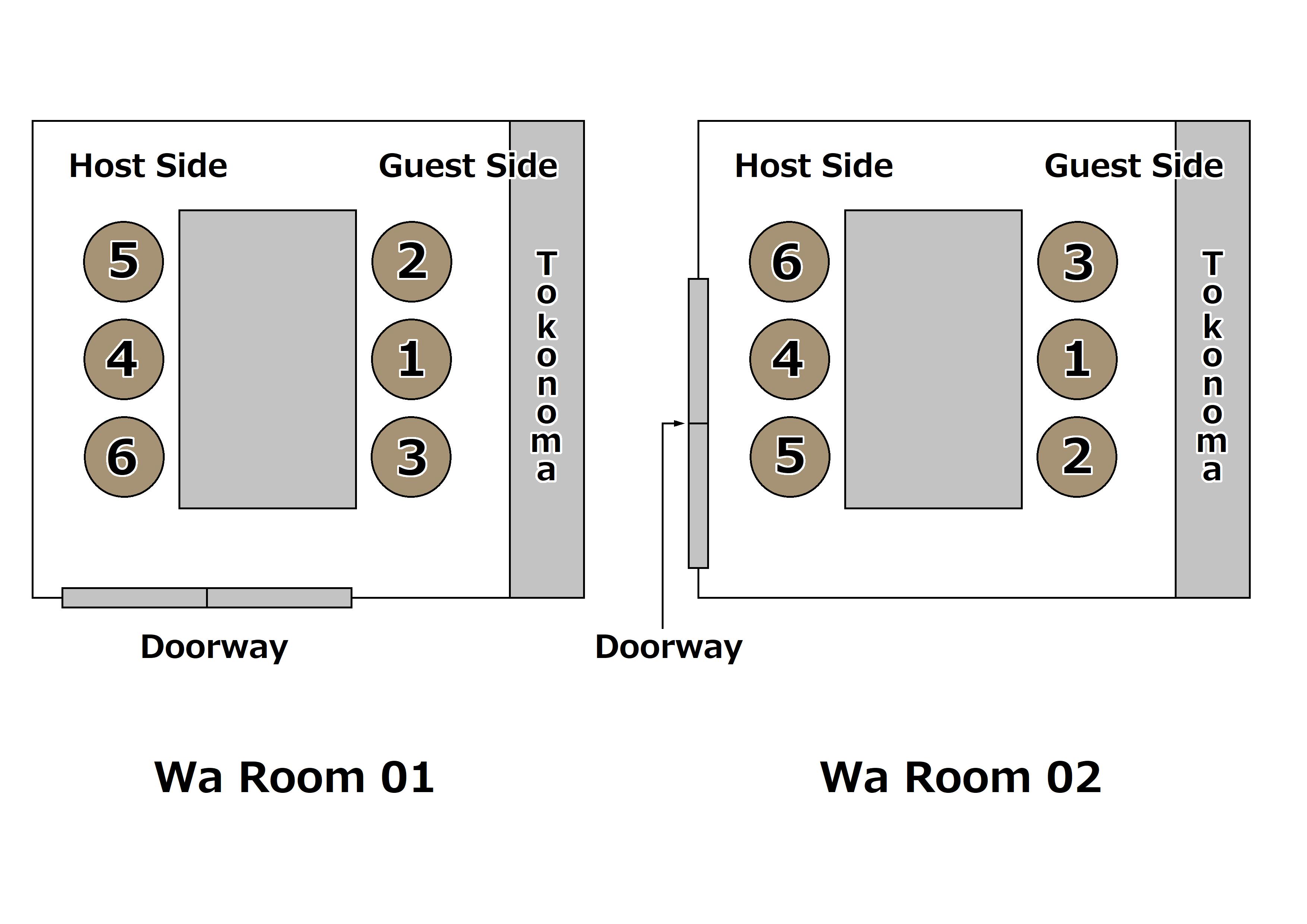 in The Wa Room with Tokonoma㈰(和室(床の間アリ)の上座/下座㈰)
