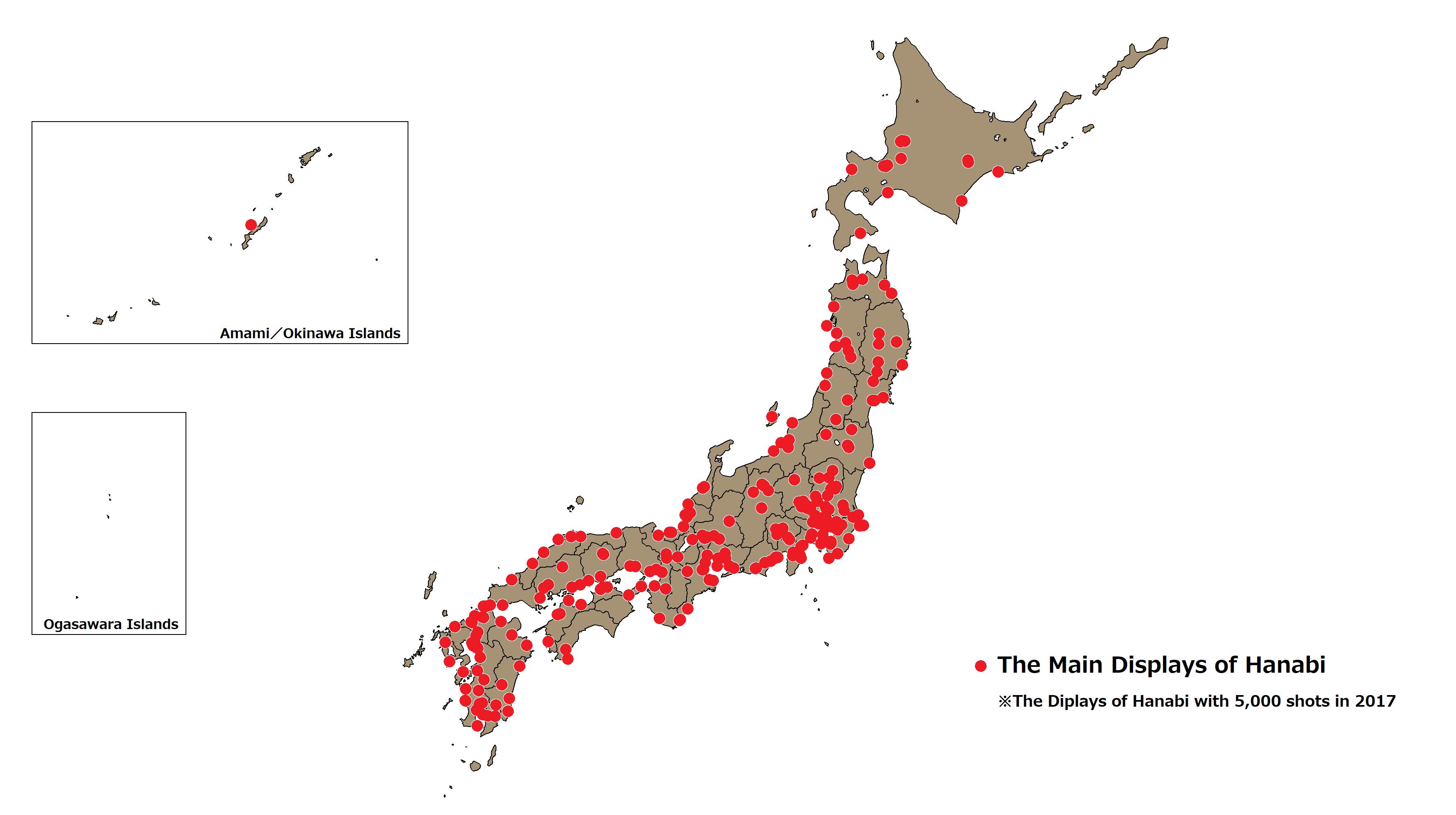 The Main Displays of Hanabi in Japan